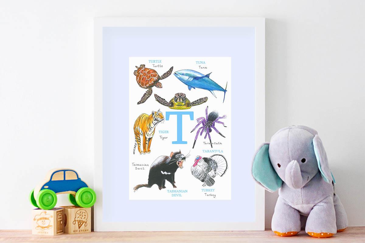 Single Letter Animal Alphabet Print